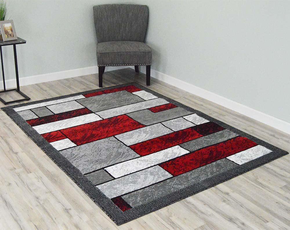5  x 8  Rima Area Rug - Grey/Red