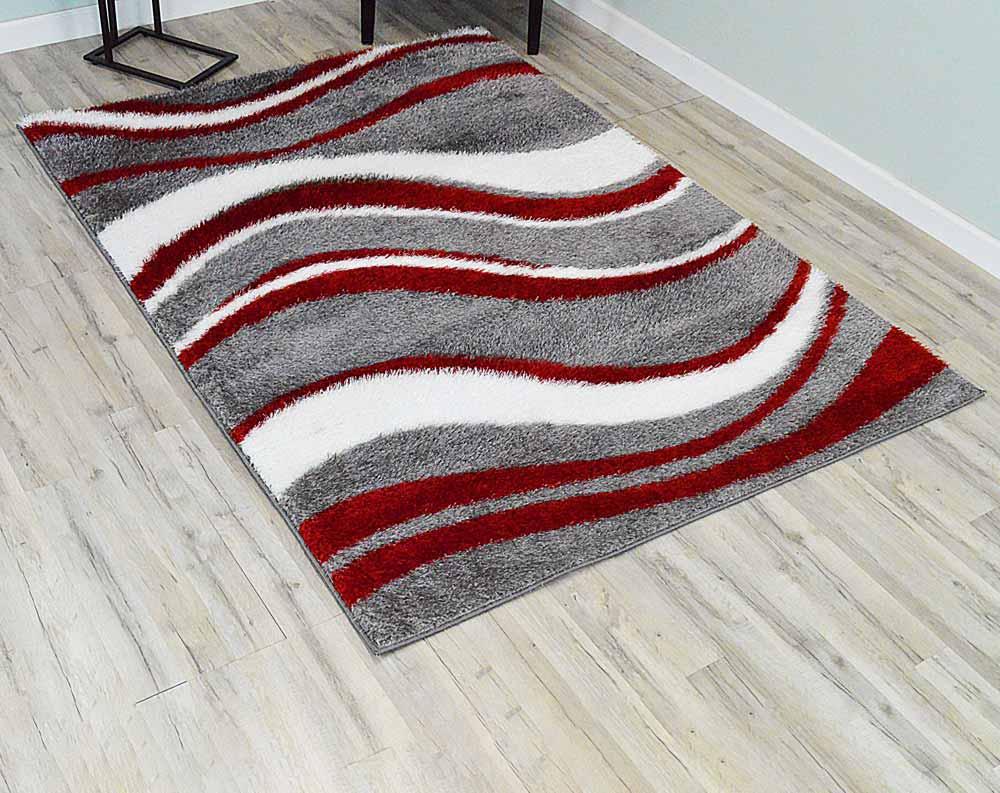 5  x 8  Monaco Shag Area Rug - Grey/Red