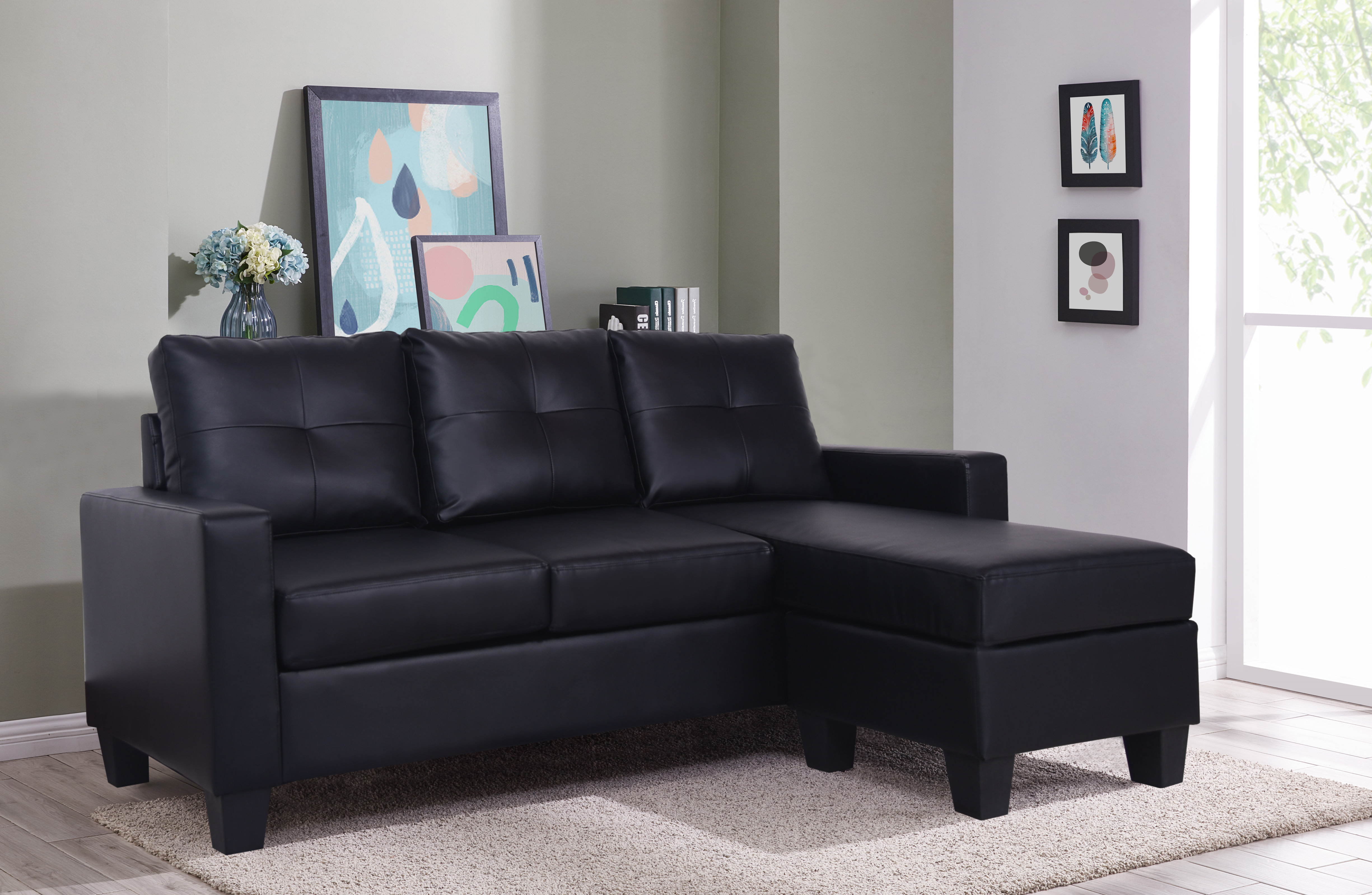 Max Black Sectional with Chaise