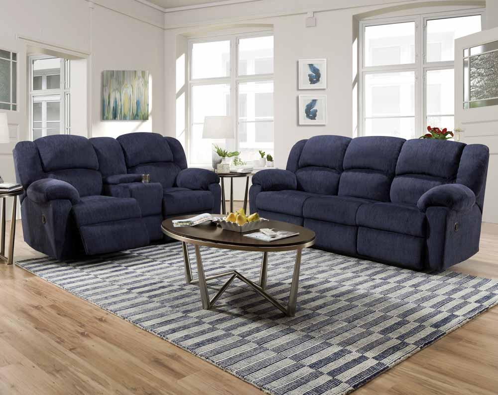 Kelly Navy Reclining Sofa