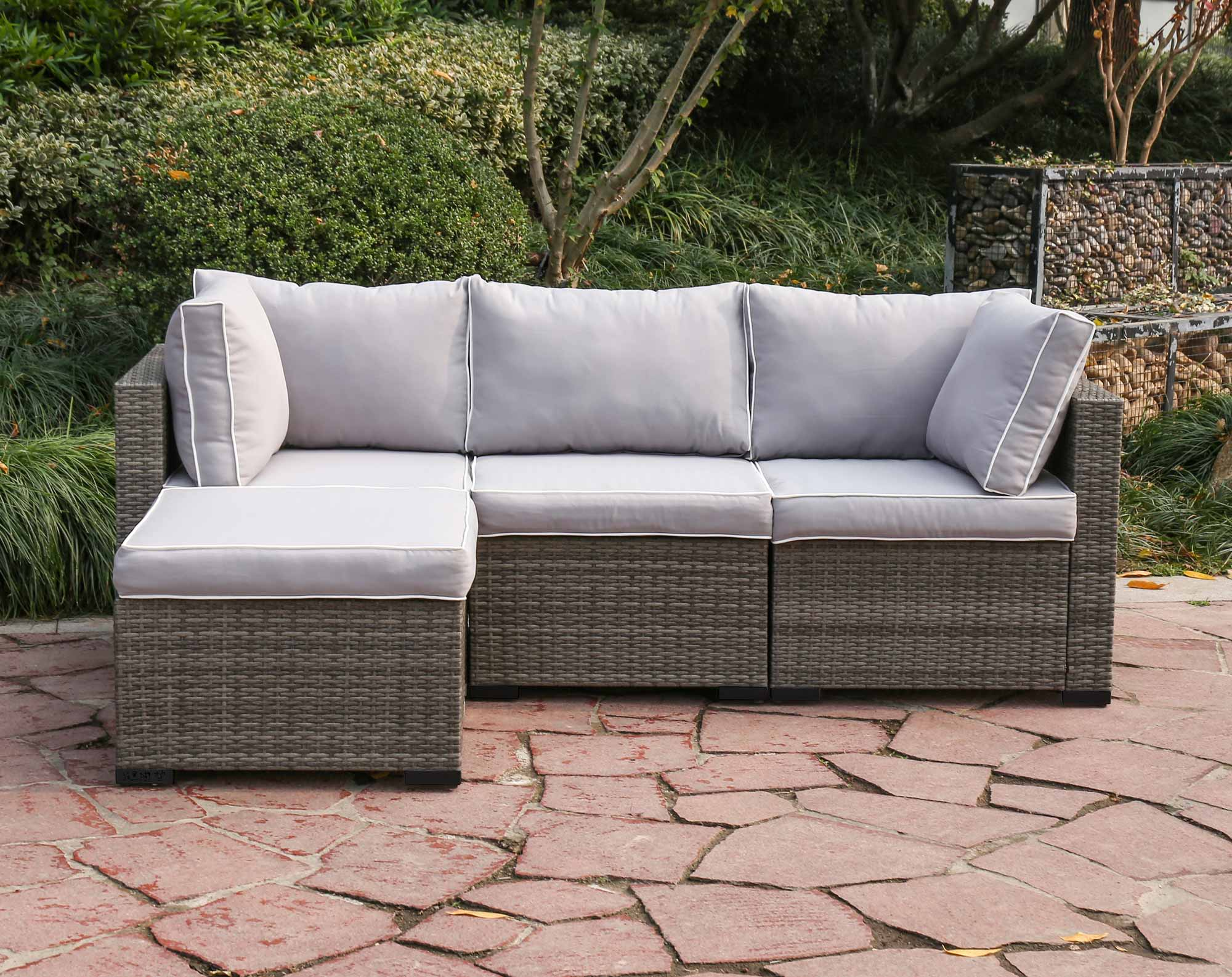 Lounge 4 Piece Wicker Modular Sectional