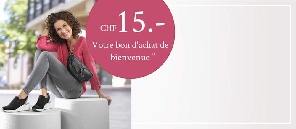 Inscrivez-vous maintenant et profitez d'un bon d'achat de CHF 15.-