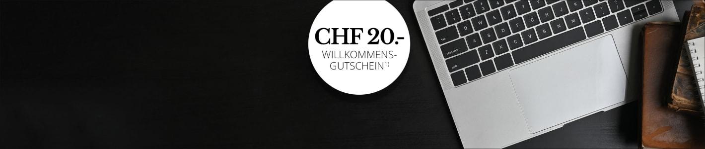 Für den Newsletter anmelden und CHF 20.- Gutschein sichern