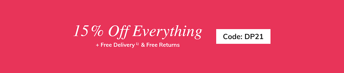 15% Off Everythin + Free Delivery and Returns