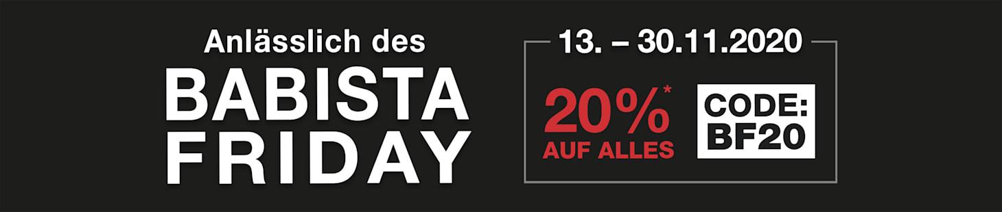 BABISTA Friday: 13. - 30.11.2020 20% auf ALLES* mit dem Code: BF20