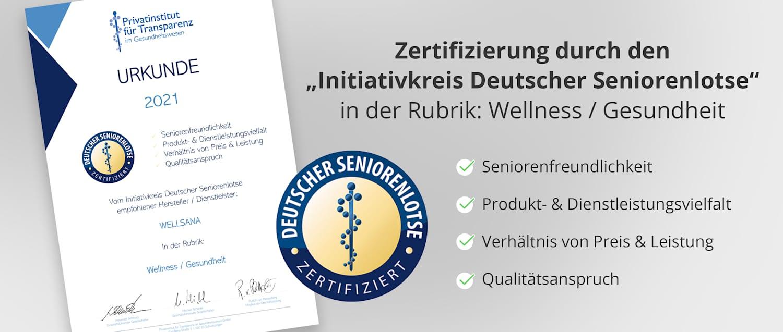 "WELLSANA Zertifizierung durch den ""Initiativkreis Deutscher Seniorenlotse"" 2021"