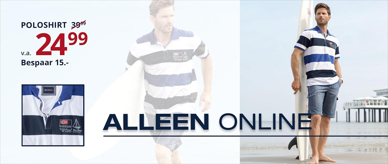 Alleen online: Poloshirt v.a. 24.99 - Bespaar 15.-