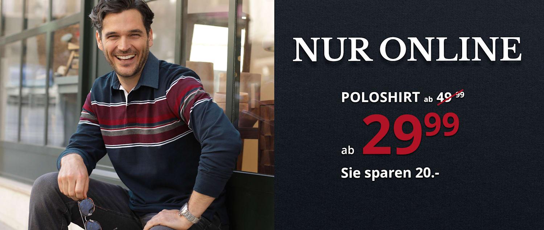 Online-Angebot: Poloshirt ab 29,99 €. Sie sparen 20 €!