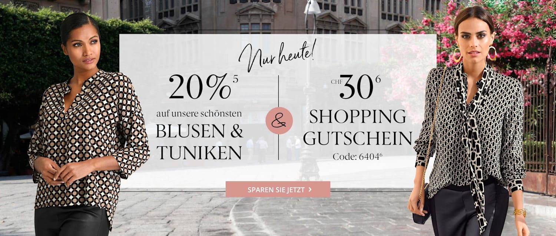 Nur heute 20% auf Blusen und Shopping Gutschein