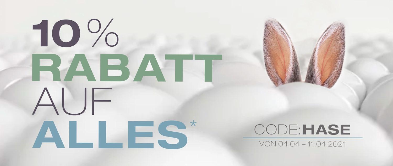 Zu Ostern: 10% Rabatt auf ALLES - Code: HASE