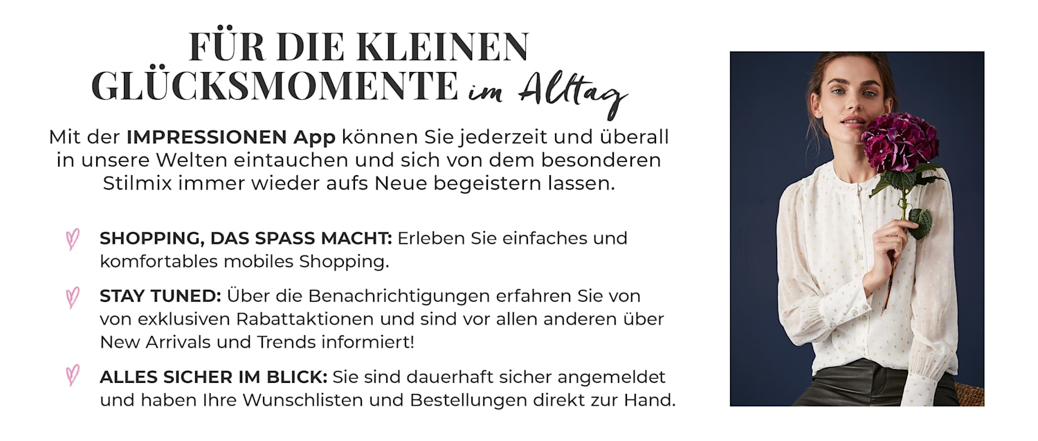 Die IMPRESSIONEN APP - dauerhaft angemeldet, optimiertes Shopping, Push Notification
