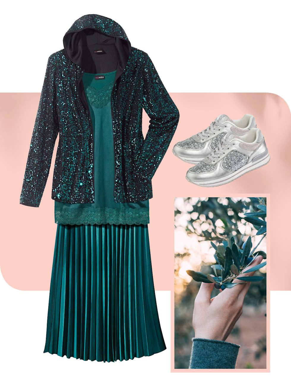 MIAMODA Grosse Grössen Kampagne strahlende Farben - Outfit in der Farbe grün