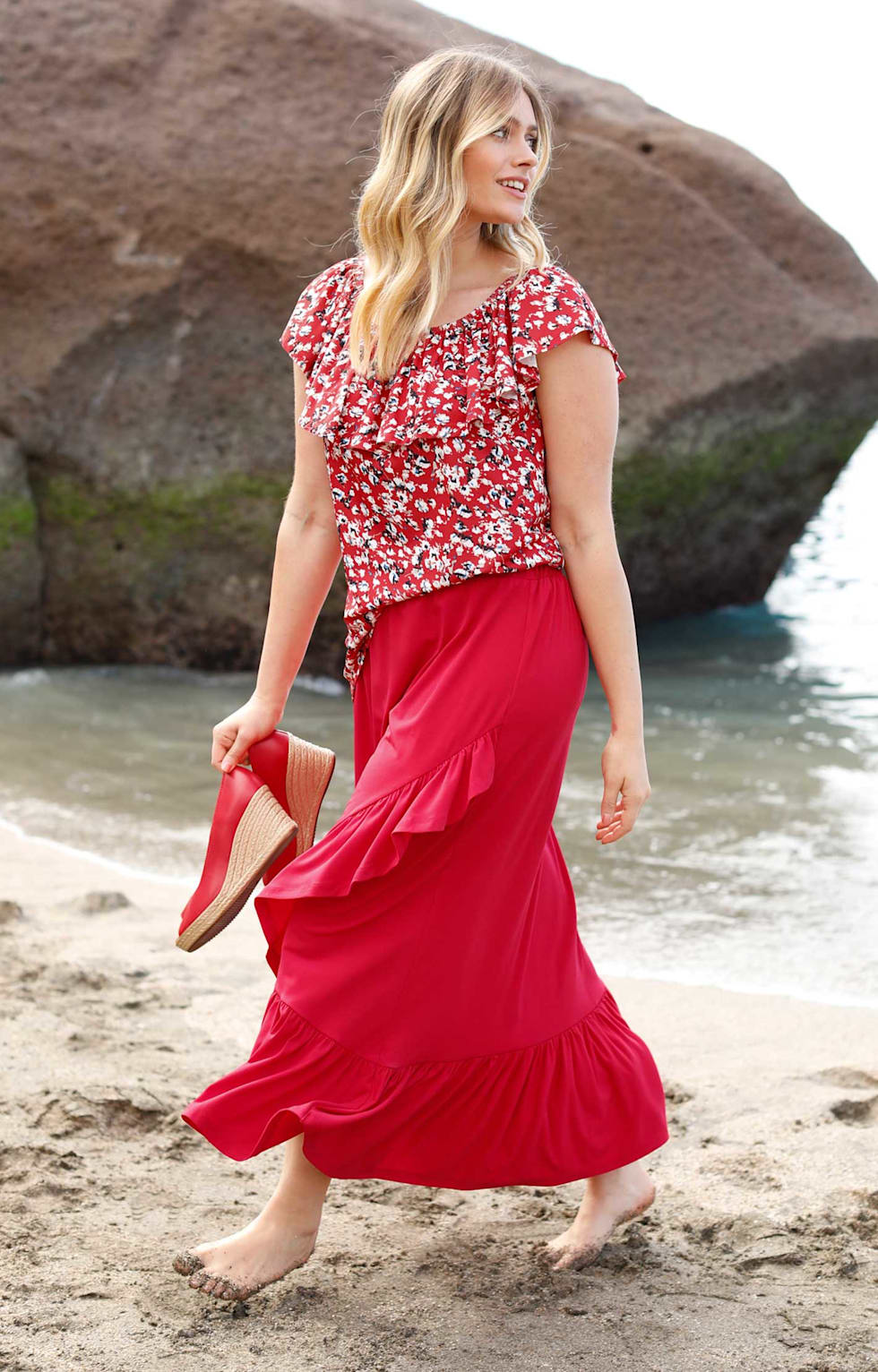 Sommeroutfit Damen rot
