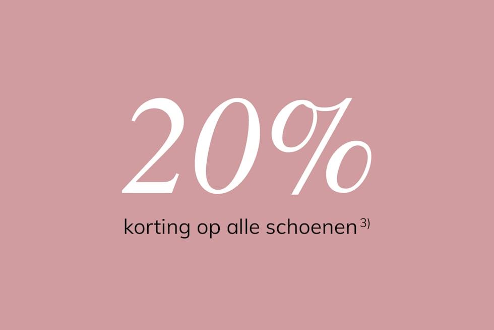 20% korting op alle schoenen