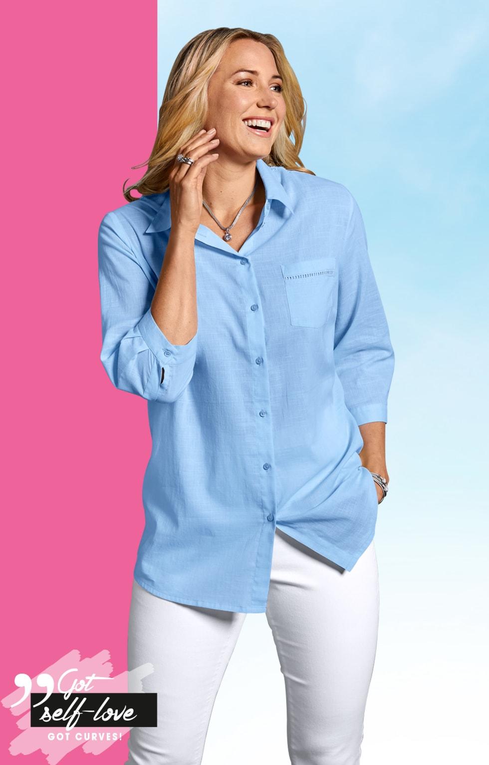 MIAMODA Große Größen blaue Hemdbluse und weiße Jeggings