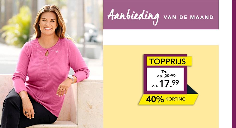 Aanbieding van de maand trui met fraai breipatroon 40% korting