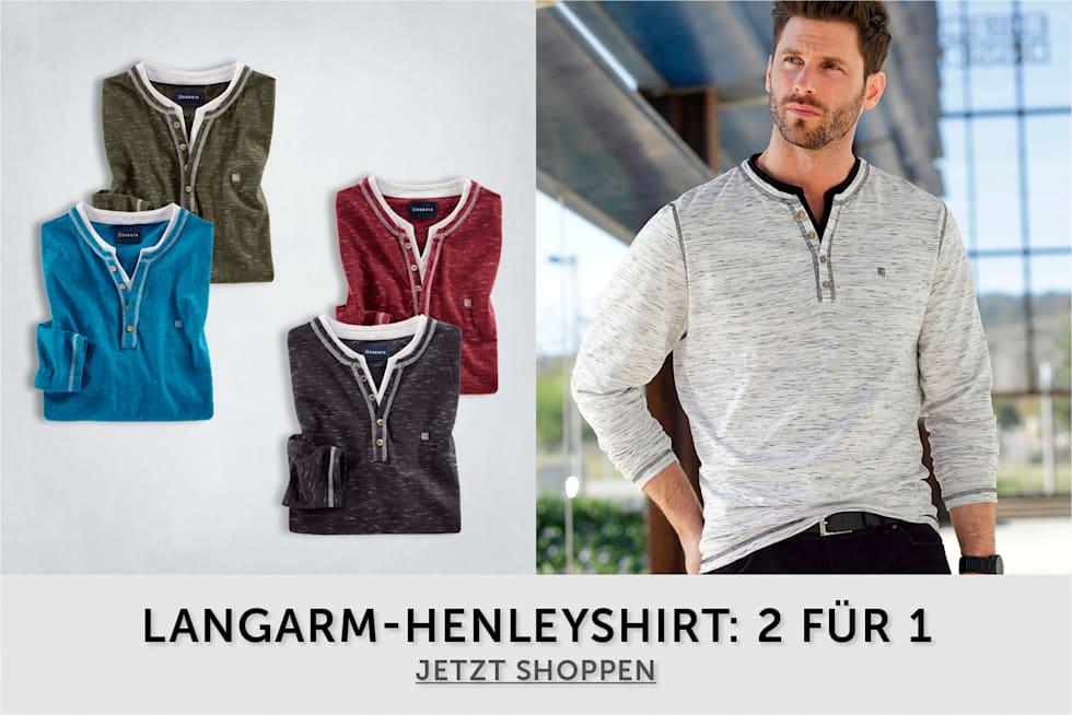 Langarm-Henleyshirt: 2 Für 1