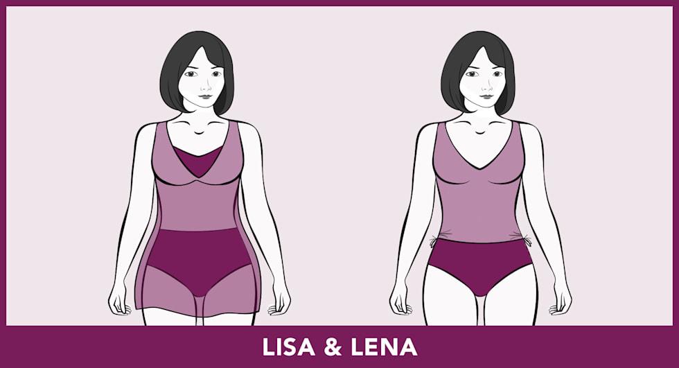 Badmode-pasvormen - Lisa & Lena