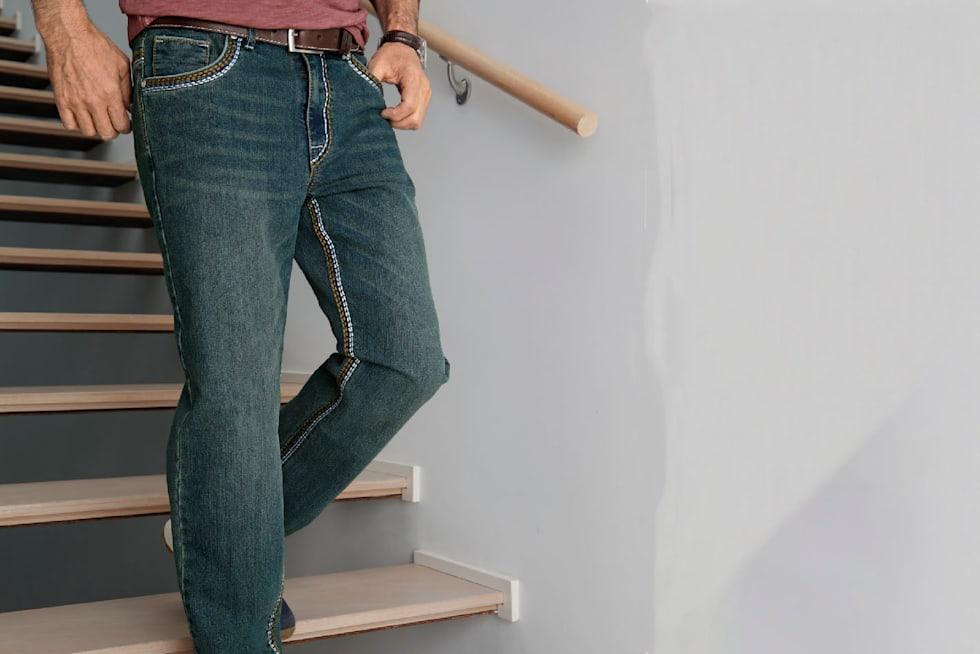 Naar de grote maten jeans voor heren