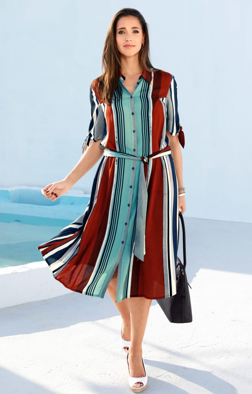 MIAMODA Große Größen Kleid mit Streifen