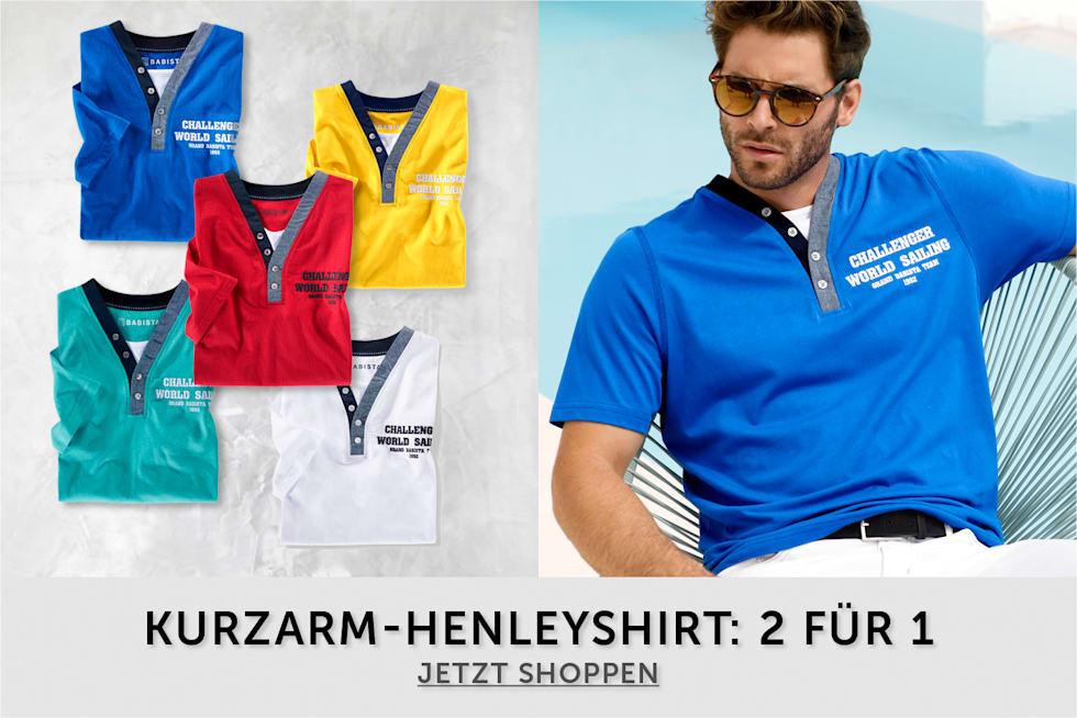 Kurzarm-Henleyshirt: 2 Für 1