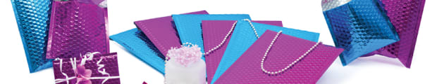 Gloss metallic bubble bags, Metallic black, Metallic blue, Metallic gold, Metallic green, Metallic grey, Metallic holographic, Metallic hot pink, Metallic purple, Metallic red, Metallic silver, Metallic translucent
