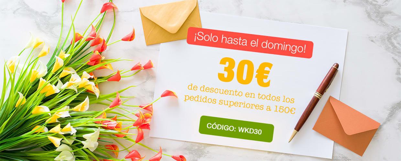 30€ de descuento en todos los pedidos superiores a 150€. Código: WKD30.