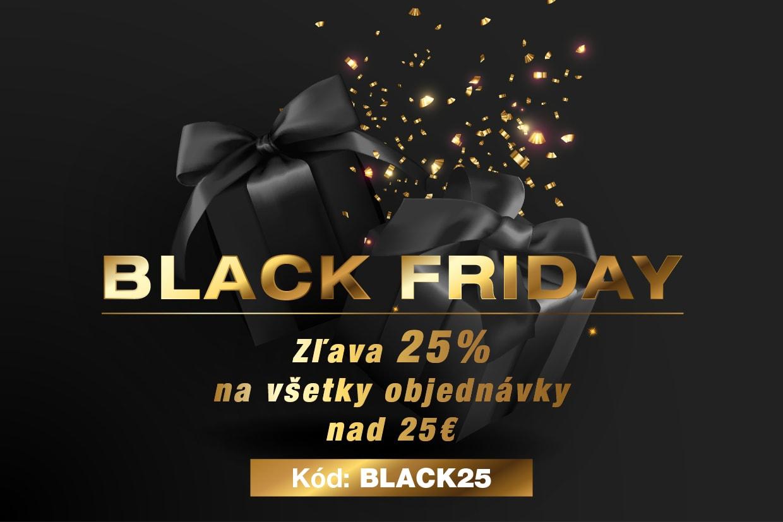Black Friday. Zľava 25% na všetky objednávky nad 50€