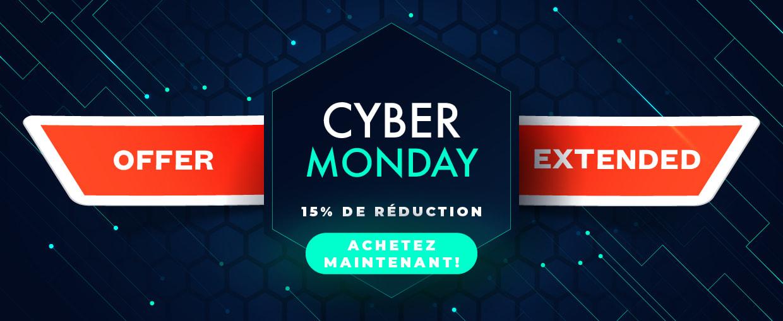 Cyber Monday. 15% sur toutes les commandes de plus de 25€ HT. Code CBM15. Offre prolongée jusqu'au 6 décembre