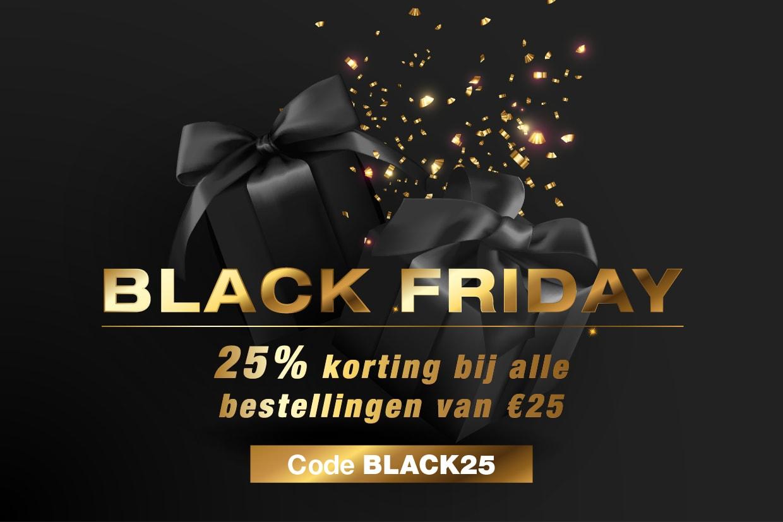 Black Friday. 25% korting bij alle bestellingen van €25. Code BLACK25.
