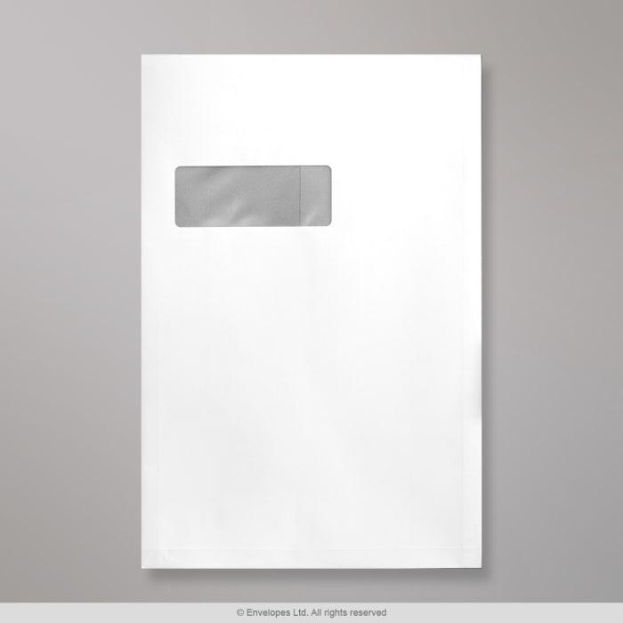 Valkoinen, ikkunallinen sivulevikekirjekuori 324x229x25 mm (C4)