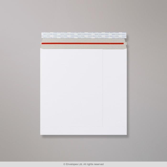 Weiße Vollpapptasche mit Aufreißband 249x249 mm