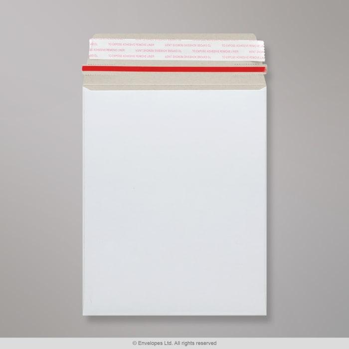 Weiße Vollpapptasche mit Aufreißband 241x178 mm