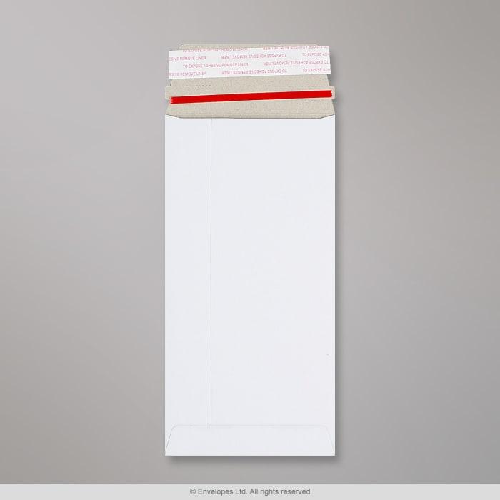 220x110 mm (DL) Busta in cartone bianca con striscia a strappo