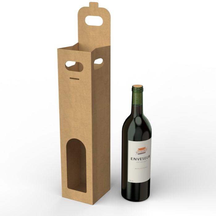 Ikkunallinen pahvilaatikko viinipulloille (75 cl), valmistettu manillapaperista, 90x90x390 mm