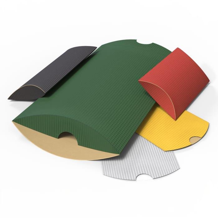 Cajas almohadas acanaladas de colores