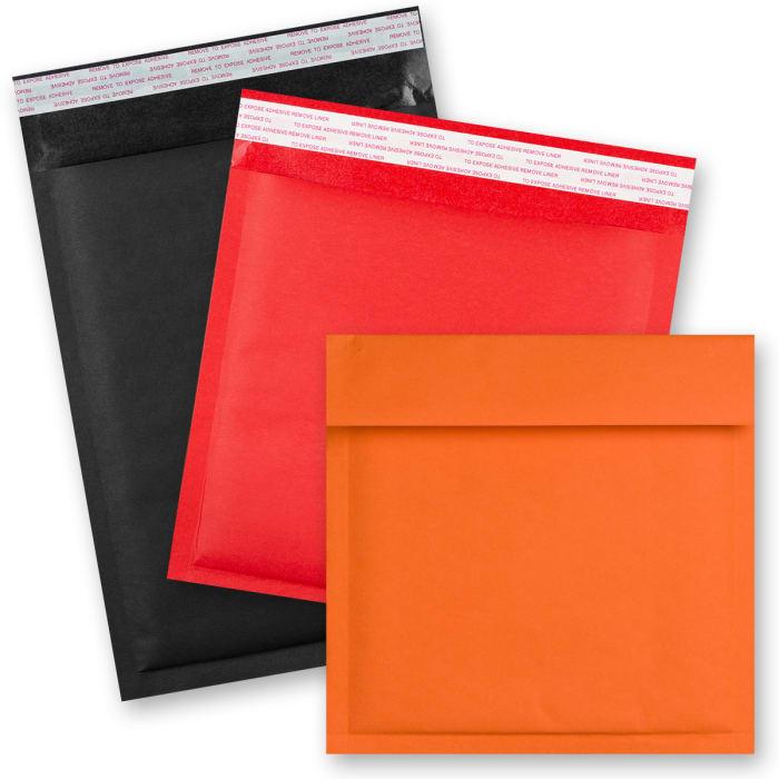 Kolorowe kraftowe koperty bąbelkowe