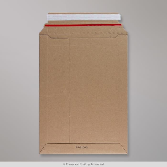 Jäykkä manillanruskea pakkaus, mikroaaltopahvi 340x250 mm