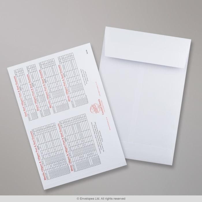 Koperta biała, z szarego papieru, czarna i czerwona pojemna z nadrukiem - karta z próbkami