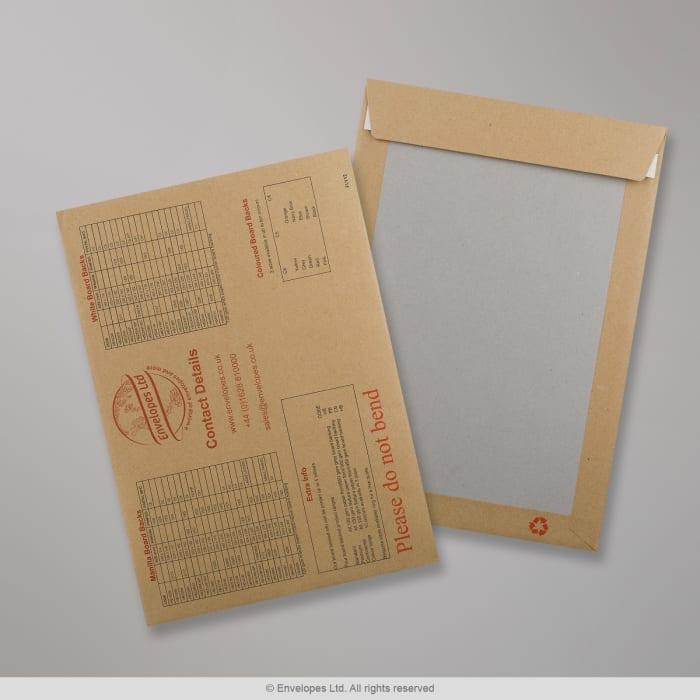 Manilová obálka s kartónovou zadnou stranou s potlačou - vzorková karta