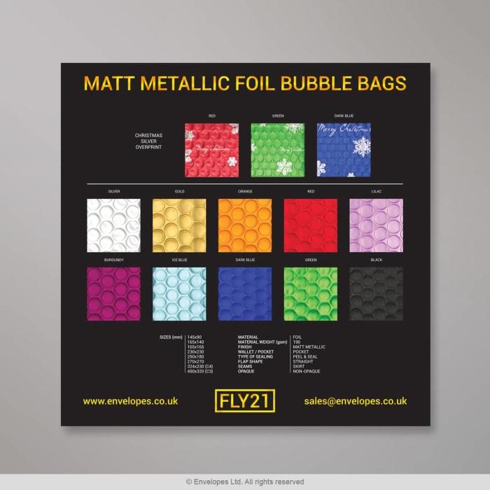 Metallisch-matte Luftpolster Versandtasche - Farbkarte