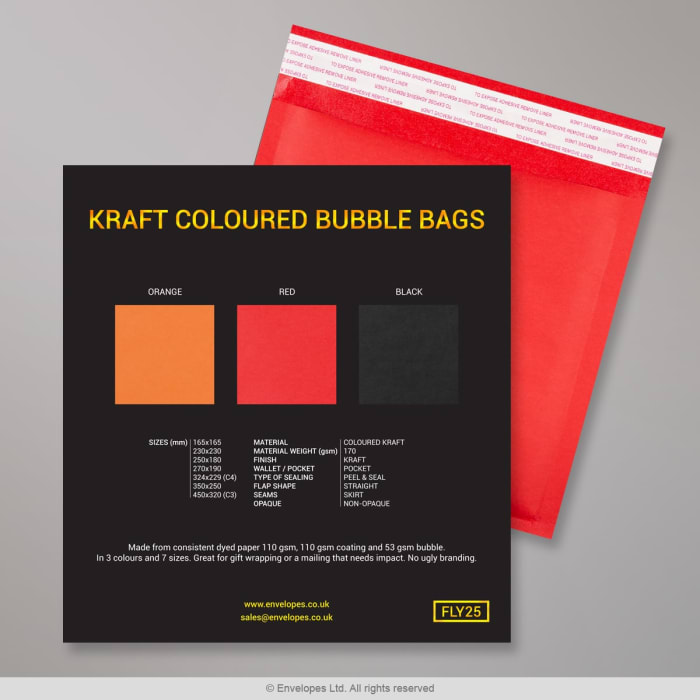 Barevné kraftové bublinkové obálky - vzorková karta