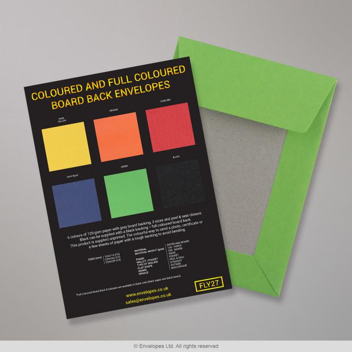 Farvede og fuldfarvede konvolutter med papryg - Flyvebladsmateriale