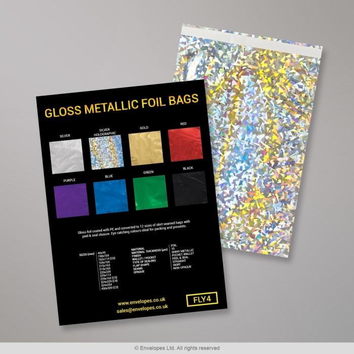 Błyszczące metaliczne woreczki foliowe - Karta z próbkami