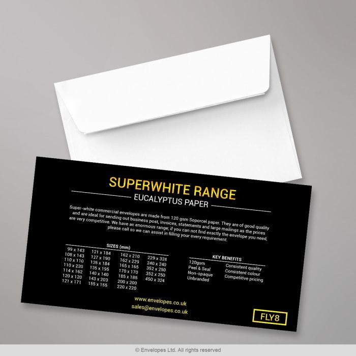 Volantino Super Gamma di buste bianche