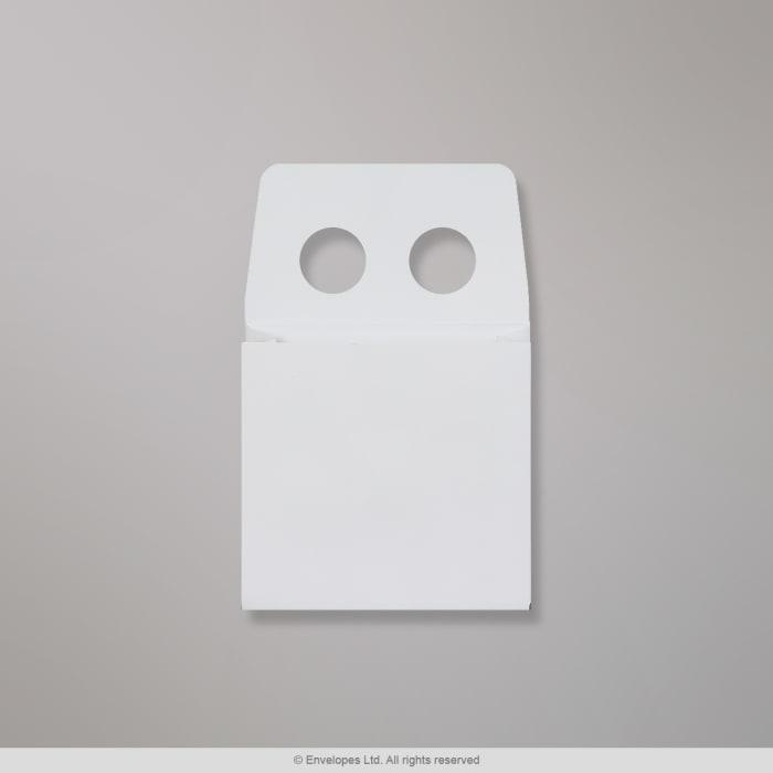 Valkoinen, kaksireikäinen kirjekuori 88x88 mm