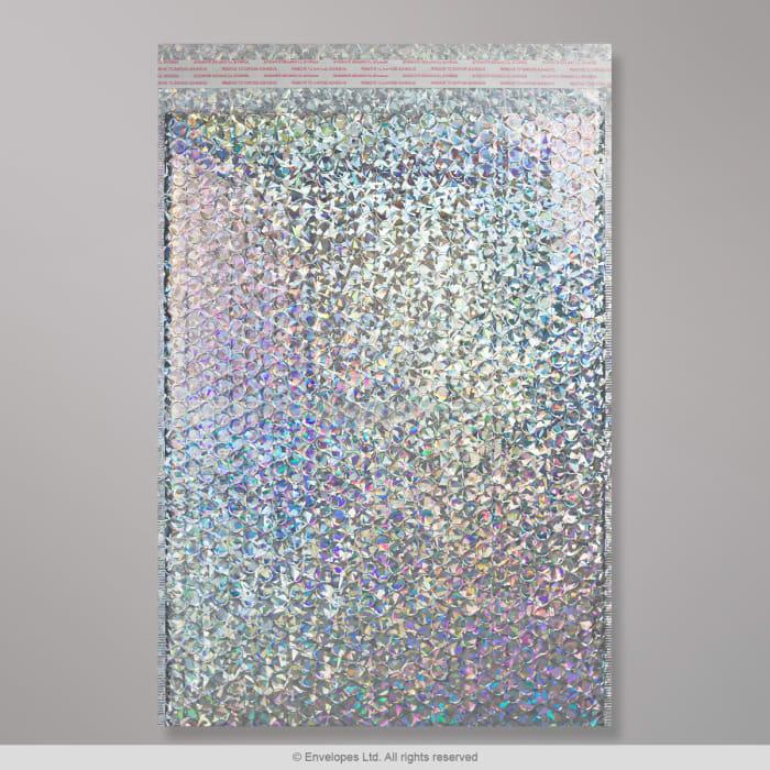 450x320 mm Strieborná holografická metalická lesklá bublinková obálka