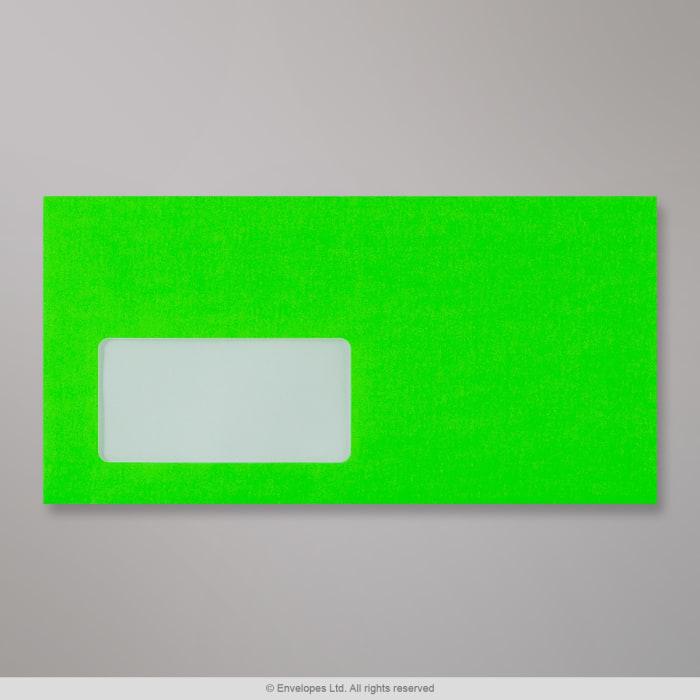 Sobre verde neón con ventanilla de 110x220 mm (DL)