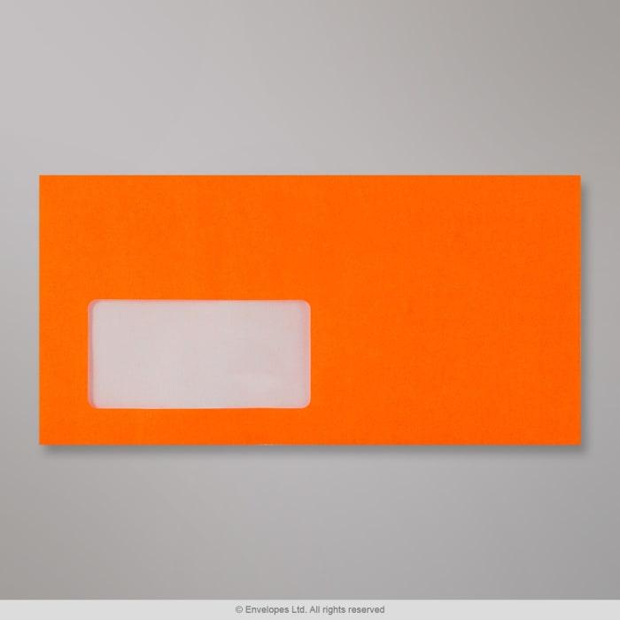 Neonově oranžová obálka s okénkem 110x220 mm (DL)
