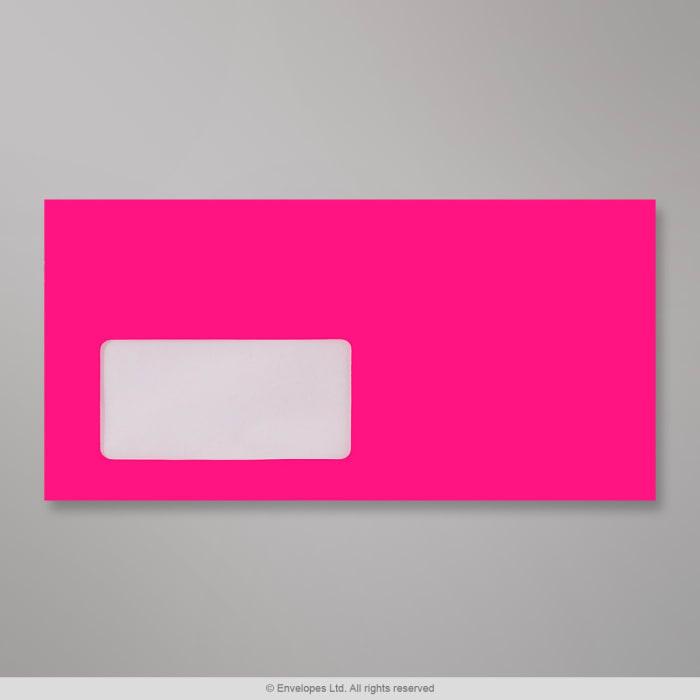 Enveloppe rose néon avec fenêtre 110x220 mm (DL)